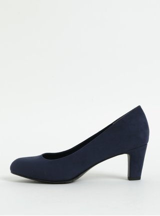 Pantofi albastru inchis din piele intoarsa cu toc mic Tamaris