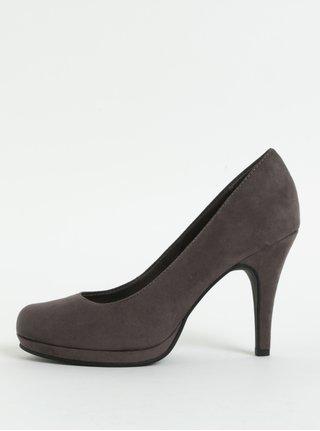 Pantofi gri inchis din piele intoarsa cu toc cui Tamaris