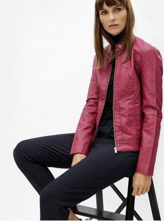 Tmavoružová koženková bunda Jacqueline de Yong Dallas