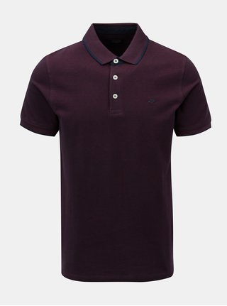 Tricou polo visiniu Jack & Jones Paulos