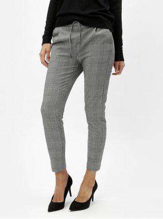 Pantaloni crop crem-negru VERO MODA EVA