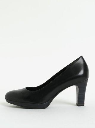 Pantofi negri din piele naturala cu toc inalt Tamaris