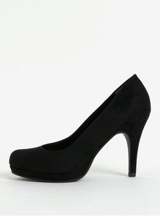 Pantofi negri din piele intoarsa cu toc inalt Tamaris