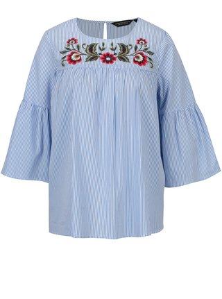 Modro-biela pruhovaná blúzka s výšivkami kvetov Dorothy Perkins
