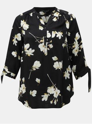 Bluza negru floral cu maneci 3/4 Dorothy Perkins Curve