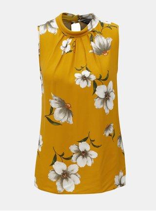 Hořčicový květovaný top bez rukávů Dorothy Perkins