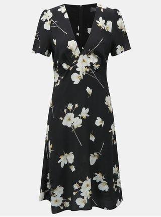 Černé květované šaty s véčkovým výstřihem Dorothy Perkins Tall
