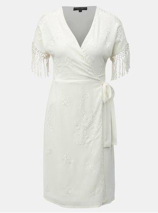 Krémové zavinovacie šaty s korálkovou výšivkou a strapcami Dorothy Perkins