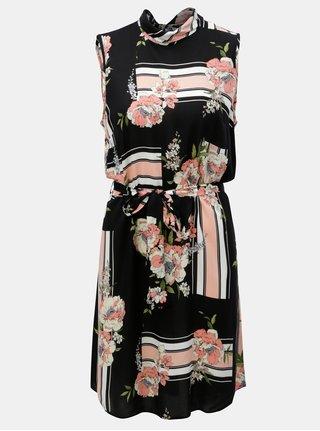 Růžovo-černé květované šaty bez rukávů Dorothy Perkins