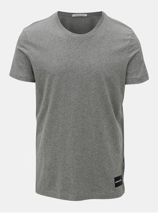 Sivé pánske melírované tričko s potlačou Calvin Klein Jeans
