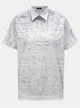 Bílé volné tričko s límečkem a potiskem Mayda Pohádka