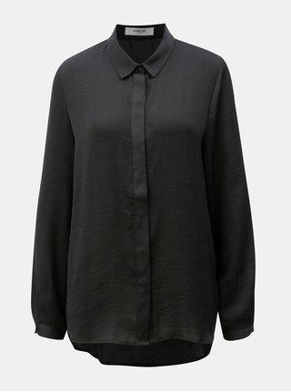 Čierna voľná košeľa so skrytou légou Moss Copenhagen Blair