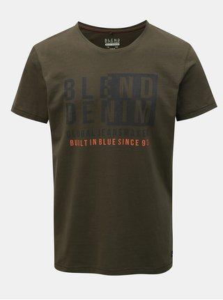 Khaki regular tričko s krátkým rukávem a potiskem Blend