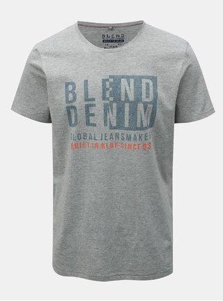 Šedé regular tričko s krátkým rukávem a potiskem Blend