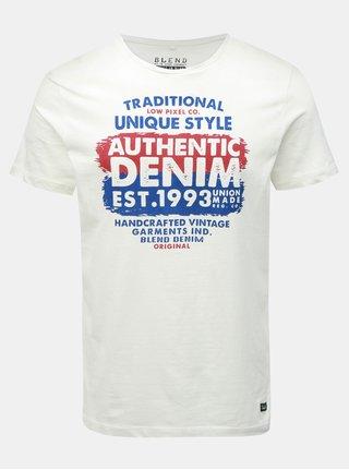 Modro-biele regular tričko s potlačou Blend