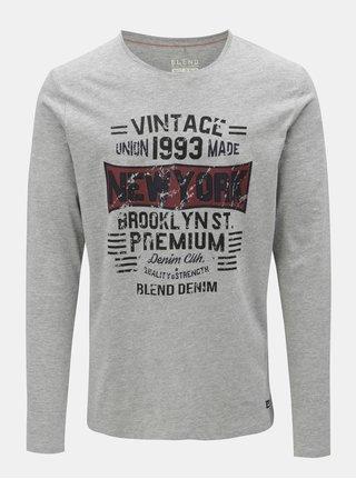 Sivé regular tričko s dlhým rukávom Blend