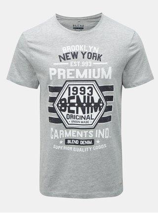 Sivé melírované tričko s potlačou Blend
