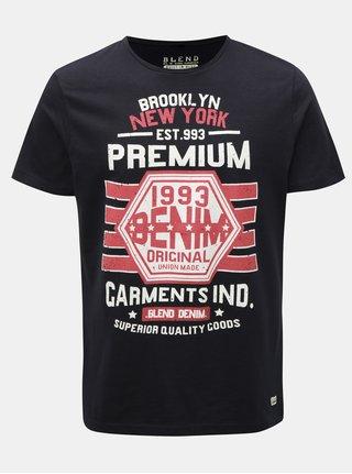 Tmavomodré regular tričko s potlačou Blend