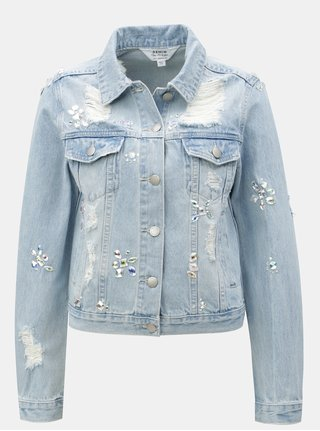 Svetlomodrá rifľová bunda s korálkovými aplikáciami Miss Selfridge