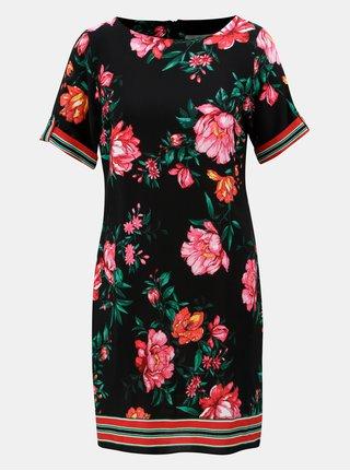Čierne kvetované šaty s krátkym rukávom Dorothy Perkins Petite