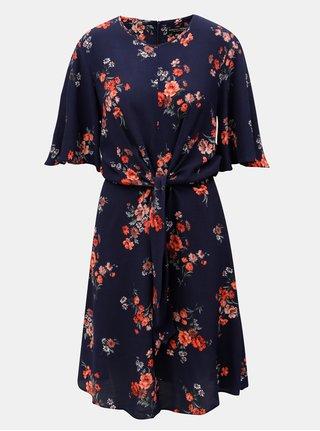 Tmavomodré kvetované šaty so zaväzovaním Dorothy Perkins