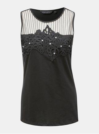 Čierny top s čipkovanými detailmi Dorothy Perkins