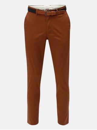 Hnědé slim fit chino kalhoty s páskem Selected Homme