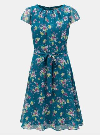 Tmavě zelené květované šaty s páskem na zavazování Billie & Blossom Tall