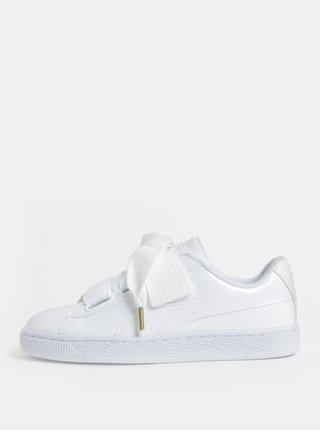 Bílé dámské lesklé tenisky se širokými tkaničkami Puma Basket Heart