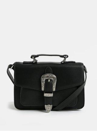 Čierna malá crossbody kabelka so sponou v striebornej farbe Pieces Faustine