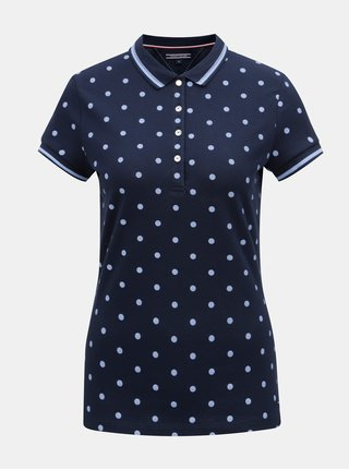 Modré dámské puntíkované polo tričko Tommy Hilfiger