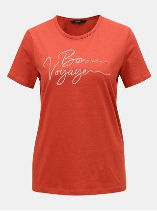 Cihlové tričko s výšivkou VERO MODA
