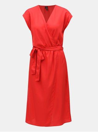 Červené pruhované šaty s prekladanou prednou časťou VERO MODA