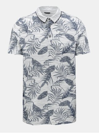 Tricou polo gri melanj cu model tropical Burton Menswear London