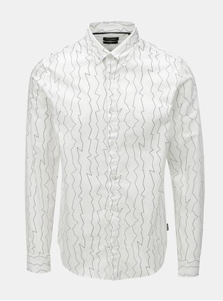 Bílá vzorovaná slim košile ONLY & SONS Omar
