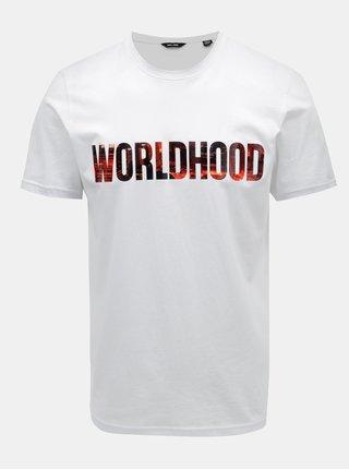 Tricou alb cu print ONLY & SONS Worldhood