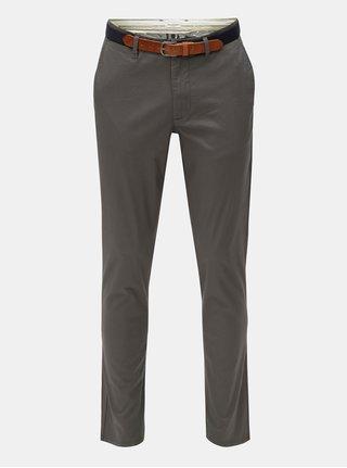 Pantaloni chino slim gri cu model si curea Selected Homme