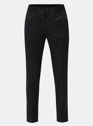 Pantaloni negri cu talie elastica Selected Homme