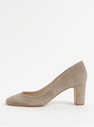 Pantofi bej din piele intoarsa cu toc stabil OJJU