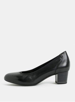 Pantofi negri din piele cu toc mic Tamaris