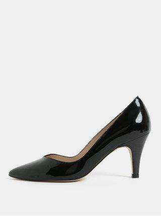 Pantofi negri luciosi din piele naturala cu varf ascutit OJJU