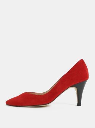 Pantofi rosii din piele intoarsa cu varf ascutit OJJU