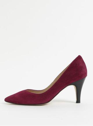 Pantofi visinii din piele intoarsa cu varf ascutit OJJU