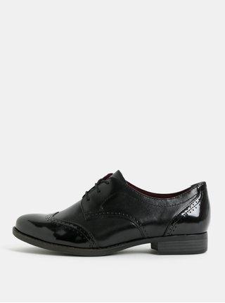 Pantofi negri din piele cu model 3D Tamaris