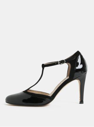 Čierne kožené lesklé sandáliky na podpätku OJJU