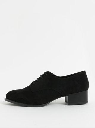 Pantofi de dama negri din piele intoarsa cu toc OJJU