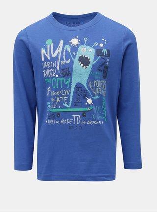 Modré klučičí tričko s potiskem a dlouhým rukávem Blue Seven