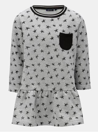 Sivé mikinové šaty s potlačou hviezd Blue Seven