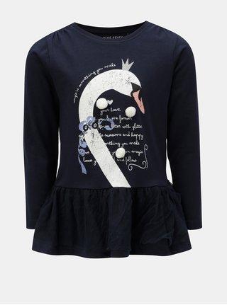 Tmavomodré dievčenské tričko s potlačou a brmbolcami Blue Seven