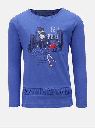 Modré dievčenské tričko s potlačou Blue Seven